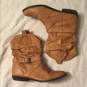 Old Navy Tan Cowboy-Style Ankle Boots / Booties